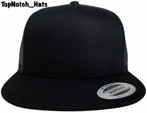 Yupoong Plain Black Trucker Hat Brand New Ships Now Ebay