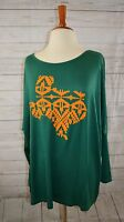 Cowgirl Gypsy Texas Green Gold Aztec Piko Tunic Top Oversized Plus L/xl