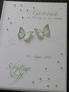 Hardcover Gastebuch Zur Hochzeit Mit Blumen Pragung Grun Weiss