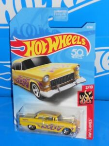 Hot-Wheels-2018-HW-Flames-Series-12-039-55-Chevy-Yellow-w-5SPs