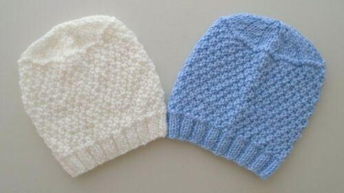 2 Pack Hats Newborn Girls Boys Hand Knitted Pink Blue Lemon Grey White