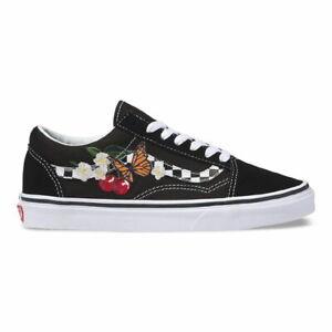 New-Vans-Old-Skool-Checker-Floral-Black-True-White-Sneakers-Low-Top-Skate-Shoes