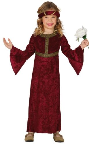 Girls Red Renaissance Medieval Princess Juliet Fancy Dress Costume Outfit 3-12yr