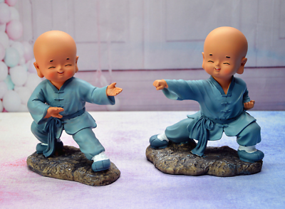 Miniatures 2pc/set Chinese Resin Figure Of 2 Shaolin Kungfu Monk Monks Collectibles