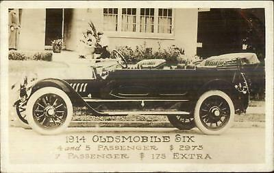 Car Auto Adv 1914 Oldsmobile Six Detroit Auto Show Overprint on Back RPPC |  eBay