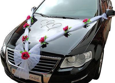 Hochzeit Autodeko Brautauto Autoschmuck Hochzeitsauto Autogirlande Weiß Weinrot   eBay