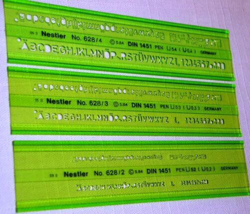 7x Schriftschablonen Set Buchstaben Schablone Gr 2,3,4,5,6,8,10 mm von Nestler