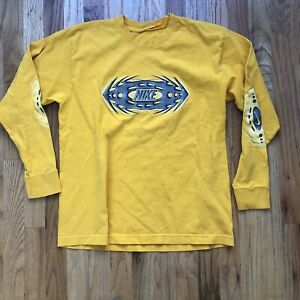 Men-039-s-Vintage-90-039-s-Nike-Yellow-Silver-Spell-Out-Long-Sleeve-T-Shirt-Tee-Sz-S-XS