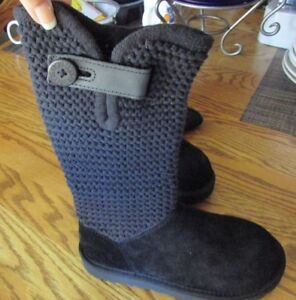 79820531bee Details about UGG Australia Women's Shaina Black Knit Boots 1012534 Cuff/  Tall Bootie SZ 6 NEW