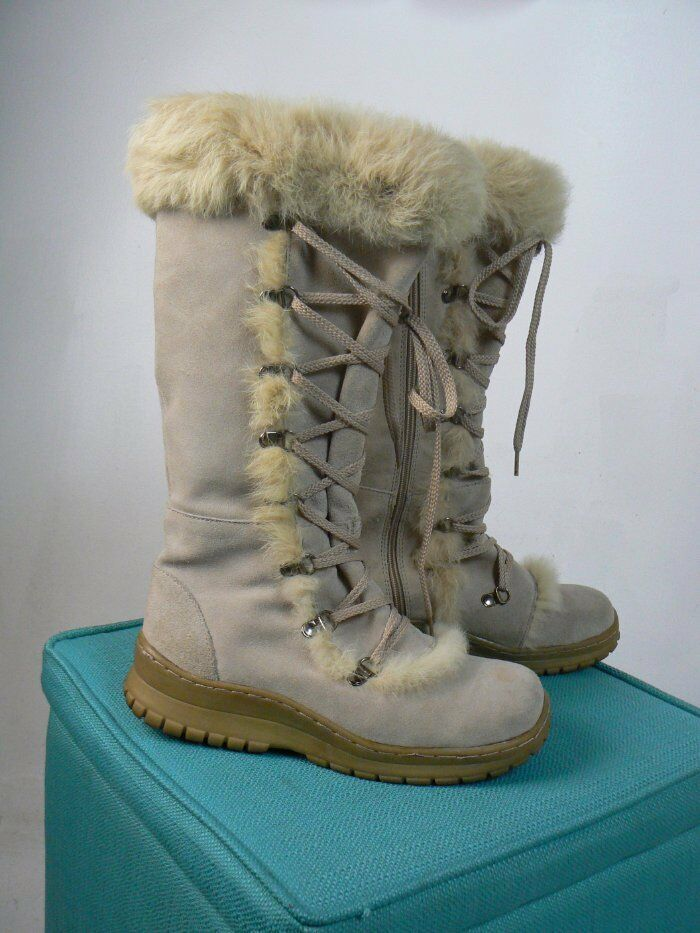 Bearpaw Beige Suede Leather Lace Up Zipper Waterproof Fur Boots 7 EUC B754