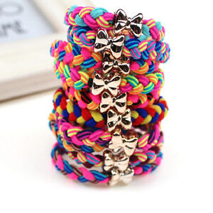 10X-Weaves-Bowknot-Ponytail-Elastic-Holders-Hair-Accessories-Girl-Rubber-Band-AU