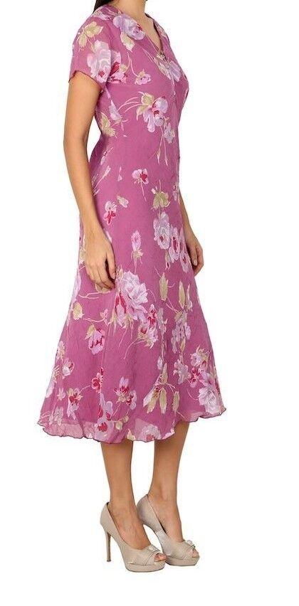 Adini Soft Crushed Geogette Lined Short Sleeve Dress in Floral Lavender Print