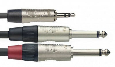 3.5mm auf 6.35mm Y Mono Audiokabel 1x 3,5mm 2x 6,35mm Klinkenkabel Splitter