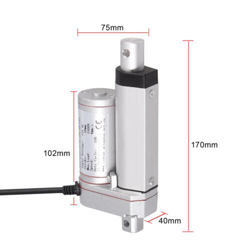 """12VDC Linear Actuator 2-6"""" 1500N 320LBS Motor Window Door Opener 4mm//s Speed"""