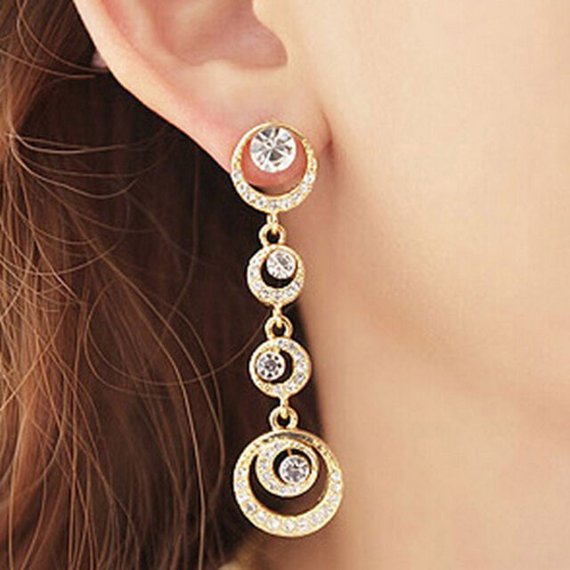 Alloy Rhinestone Long Dangle Earrings Gold Silver Fashion Jewelry
