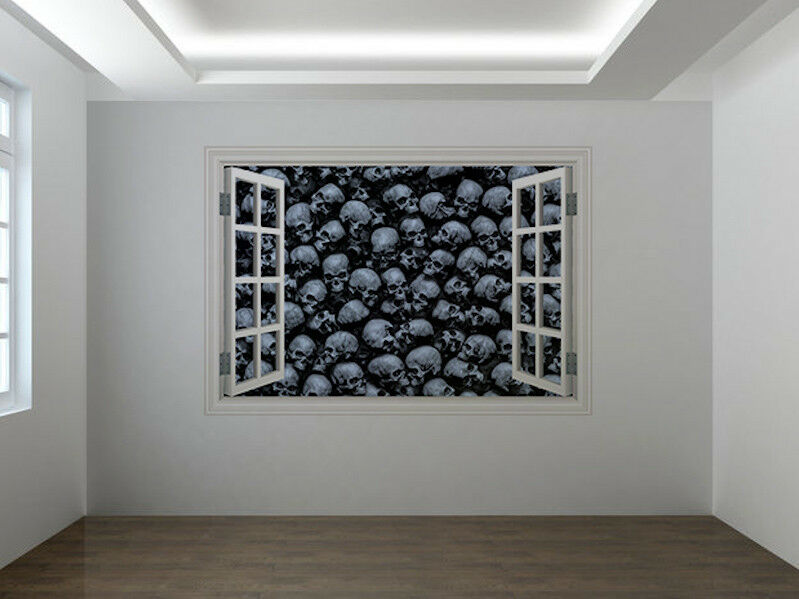 Gothique Têtes de Mort 3D 3D 3D Photo Fenêtre Autocollant Mural Décoration | Durable  b6e08f