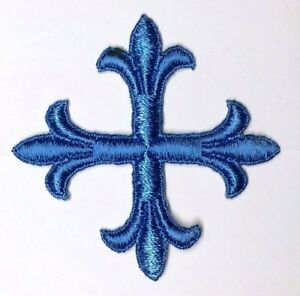 Vintage-Francese-Croce-3-034-Ricamato-da-Cucire-Blu-P-Emblema-Toppa-2-Pcs