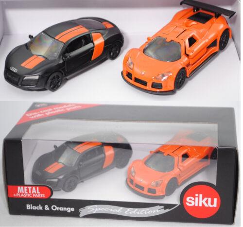 Siku Super 6310 Nero /& Arancione Special Edition con AUDI r8 e Gumpert Apollo