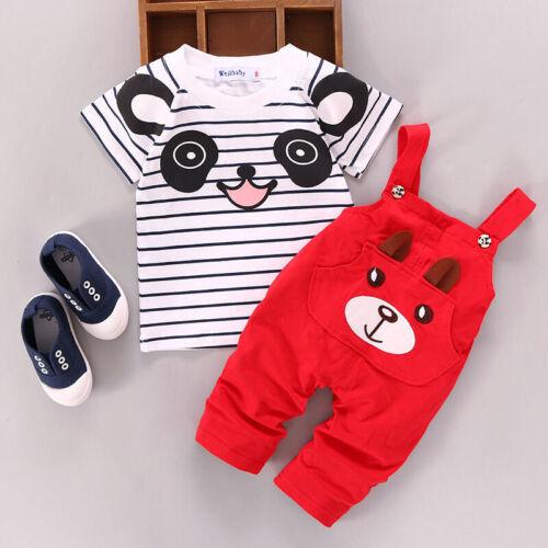 Tops+pants Set Cute T-shirt Boy Girls Kids Panda Newborn Outfits 2pcs Clothes