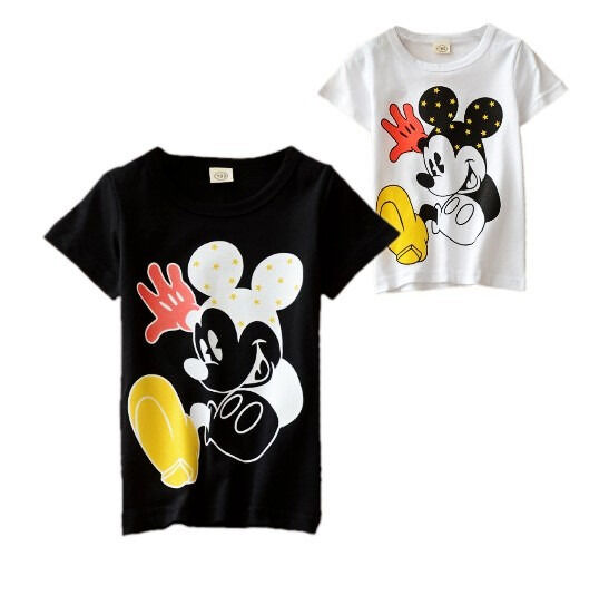 Lovely Kids Baby Boys Mickey Mouse Short Sleeve Tops Tees T-shirt Age 1-6Y