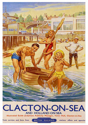 Clacton on sea  Vintage Travel  advertising poster reproduction.