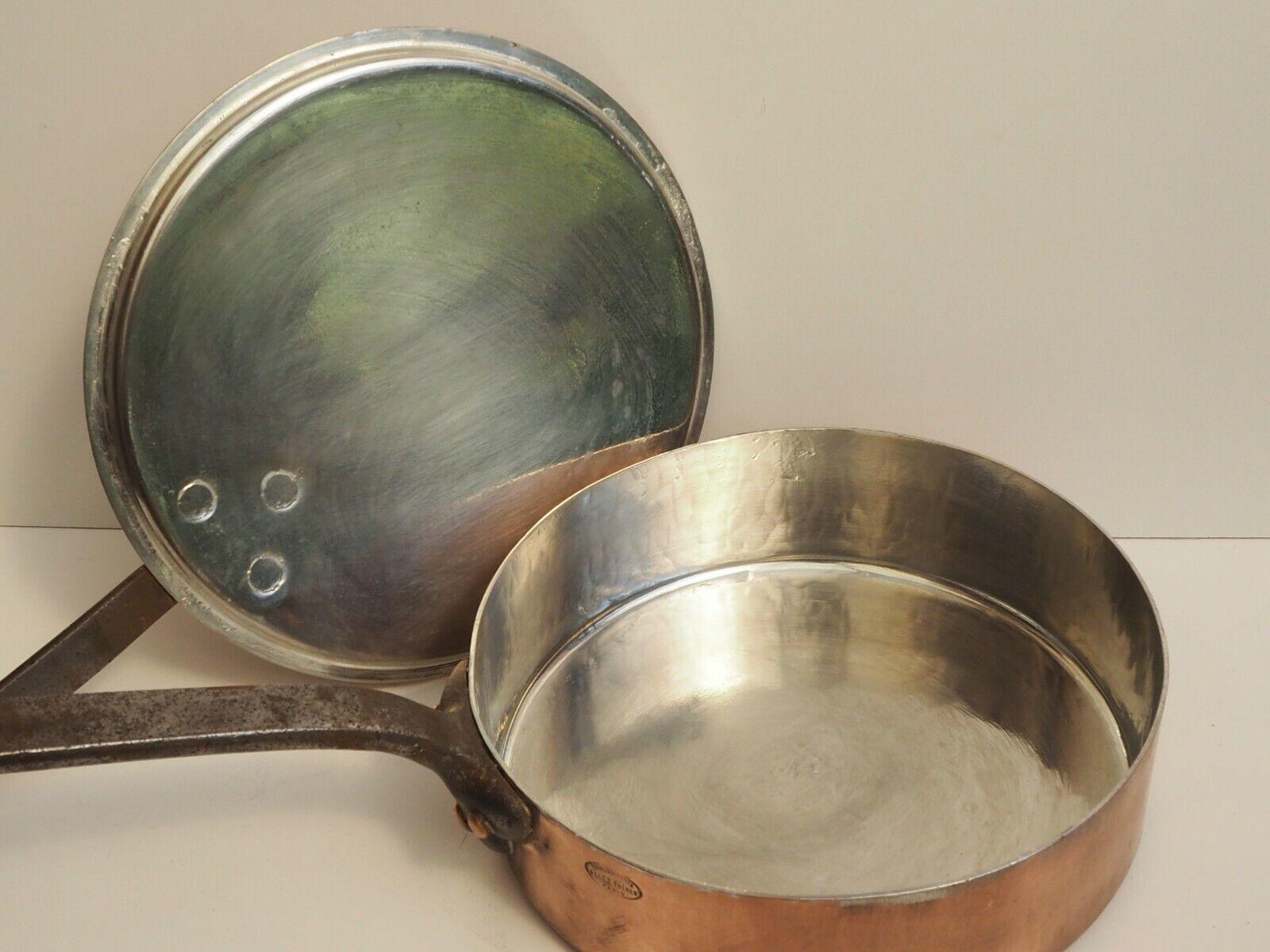Rare Antique ALLEZ FRERES cuivre vintage french sauce pan 10  avec couvercle 2.5 mm