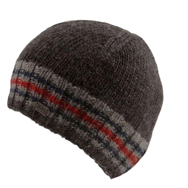 be4faabe Kusan 100% Wool Knitted Grey Rib Beanie (PK1319) (Grey/Blue/Red)