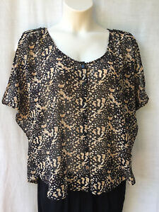 Jeanswest-Womens-Size-12-Top-Shirt-Blouse-Animal-Print-Casual-Evening-Party