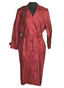 British-Mist-Womens-sz10-Trench-Coat-Burgundy-Removable-Liner-Belted-Full-Length
