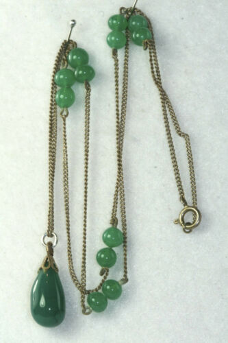 VTG ANTIQUE ART DECO 800 SILVER GREEN GLASS NECKLACE