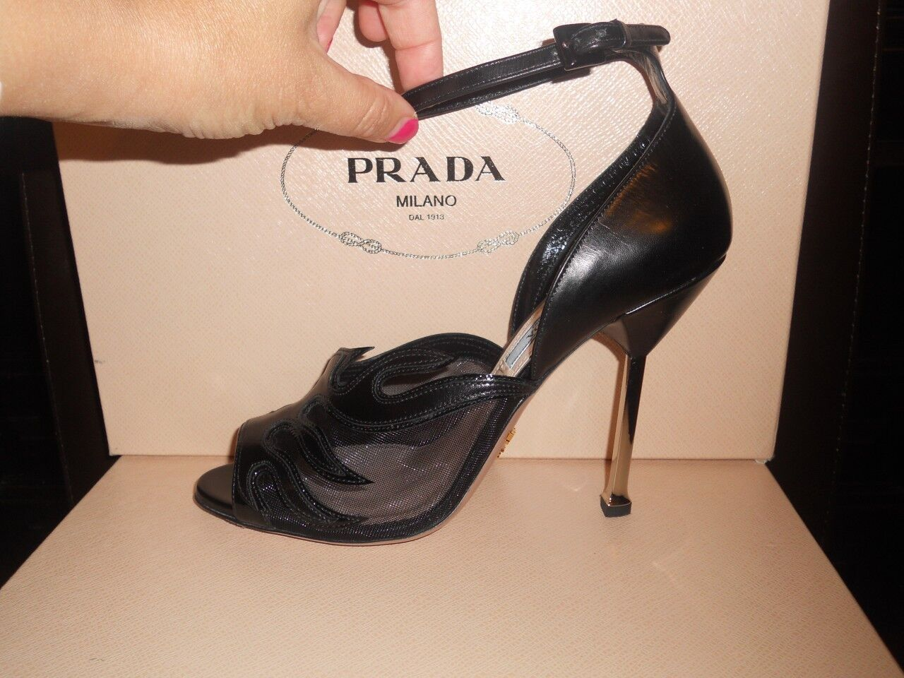 PRADA  Hot Rod  Flame Mesh Open Toe Ankle Strap Spike Heel Sandals schuhe 37.5 EU