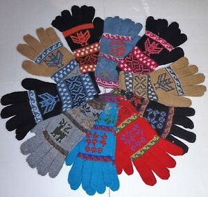 UNISEX-ALPACA-WOOL-Hand-Knitted-GLOVES-VERY-WARM-Medium-Size-Many-Colours