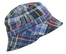 100% Cotton Reversible Bucket Hat-navy/plaid