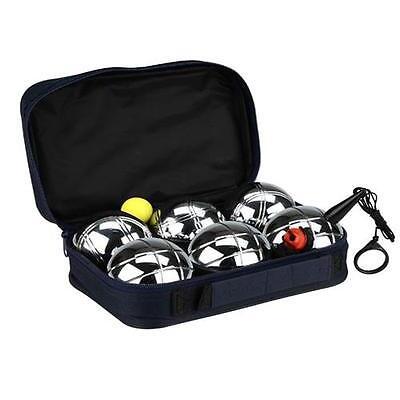 Boccia Set mit Messschnur + Tasche 6 Kugeln Petanque Metall Strand Boule  #52JK