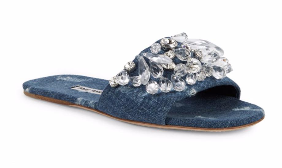 Miu Miu Miu Miu Crystal Embellished bluee Denim Slides 36EU 6US Sandal Flat Runway  695 0a795f
