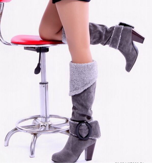 Free Women Warm Sexy Buckle fashion Suede High Heel Winter Over Knee Boots Shoes