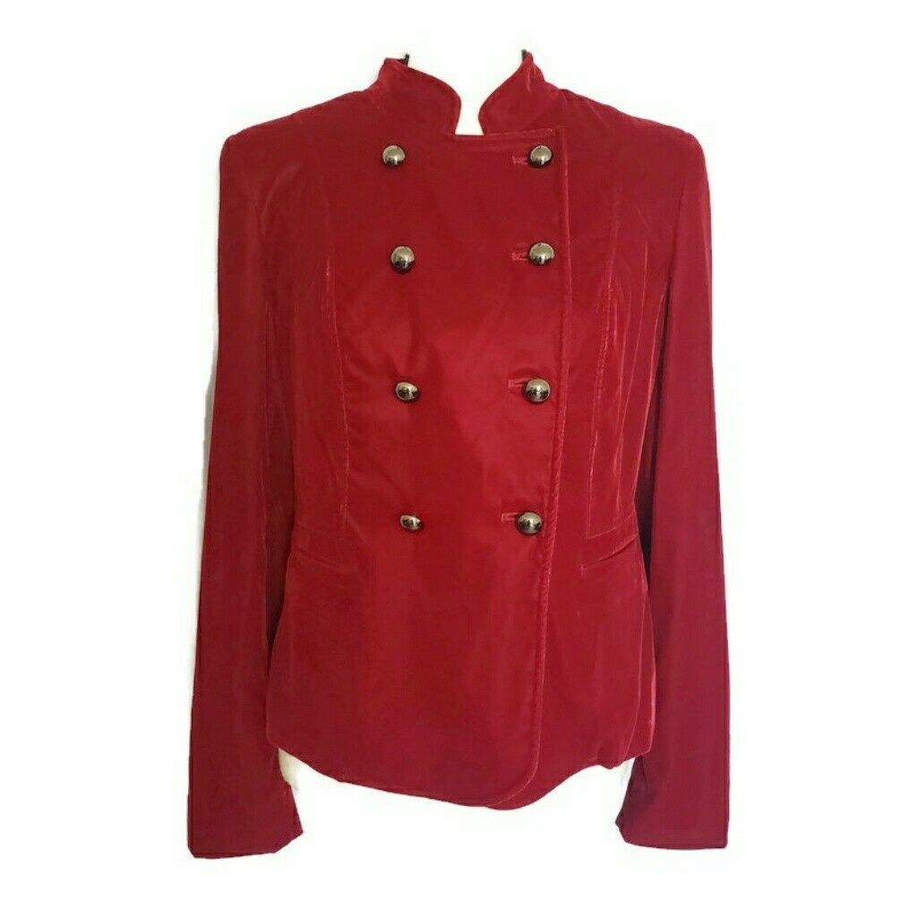 Cache Dark Red Double Breasted Velvet Blazer  Siz… - image 1