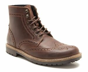 Red-Tape-Whitwell-Lace-Up-Leather-Brogue-Cleated-Boots-Brown-Wood