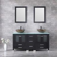 "60"" Double Bathroom Glass Basin Sink Solid Wood Vanity Cabinet W/Mirror Set New"