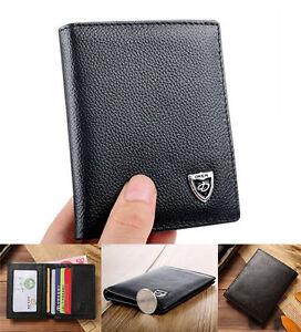 Mens Wallet Cowhide Leather Bifold Card/ID Holder Black Mini Slim Purse AU