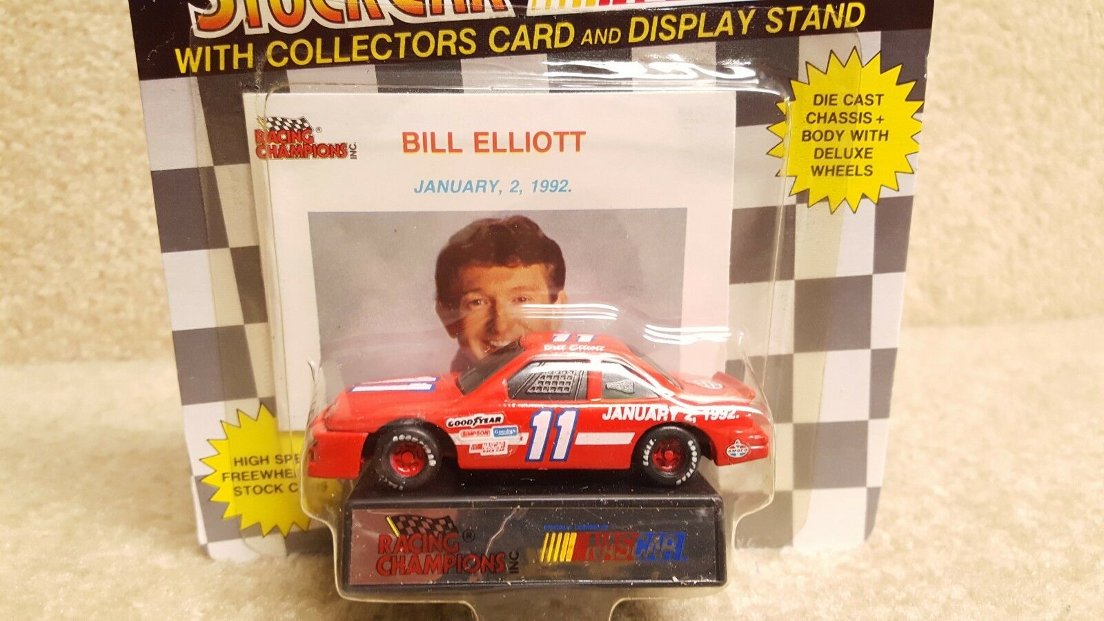 New 1992 Racing Champions 1 64 Diecast NASCAR Bill Elliott January 2 1992 Ford