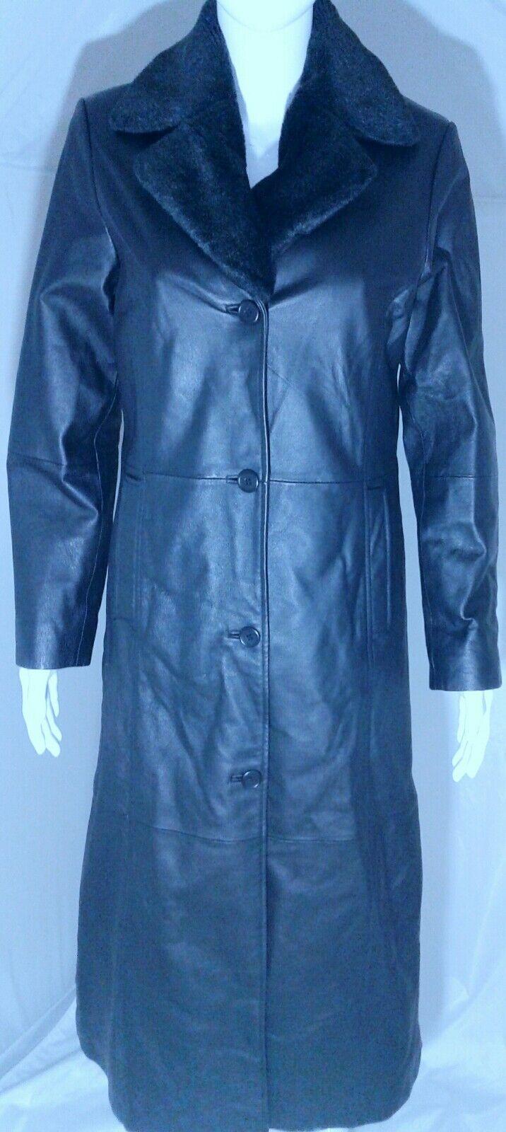 TCM Womens Leather Trench Coat Size 6 Classic Full Full Full Length Leather Coat 291273