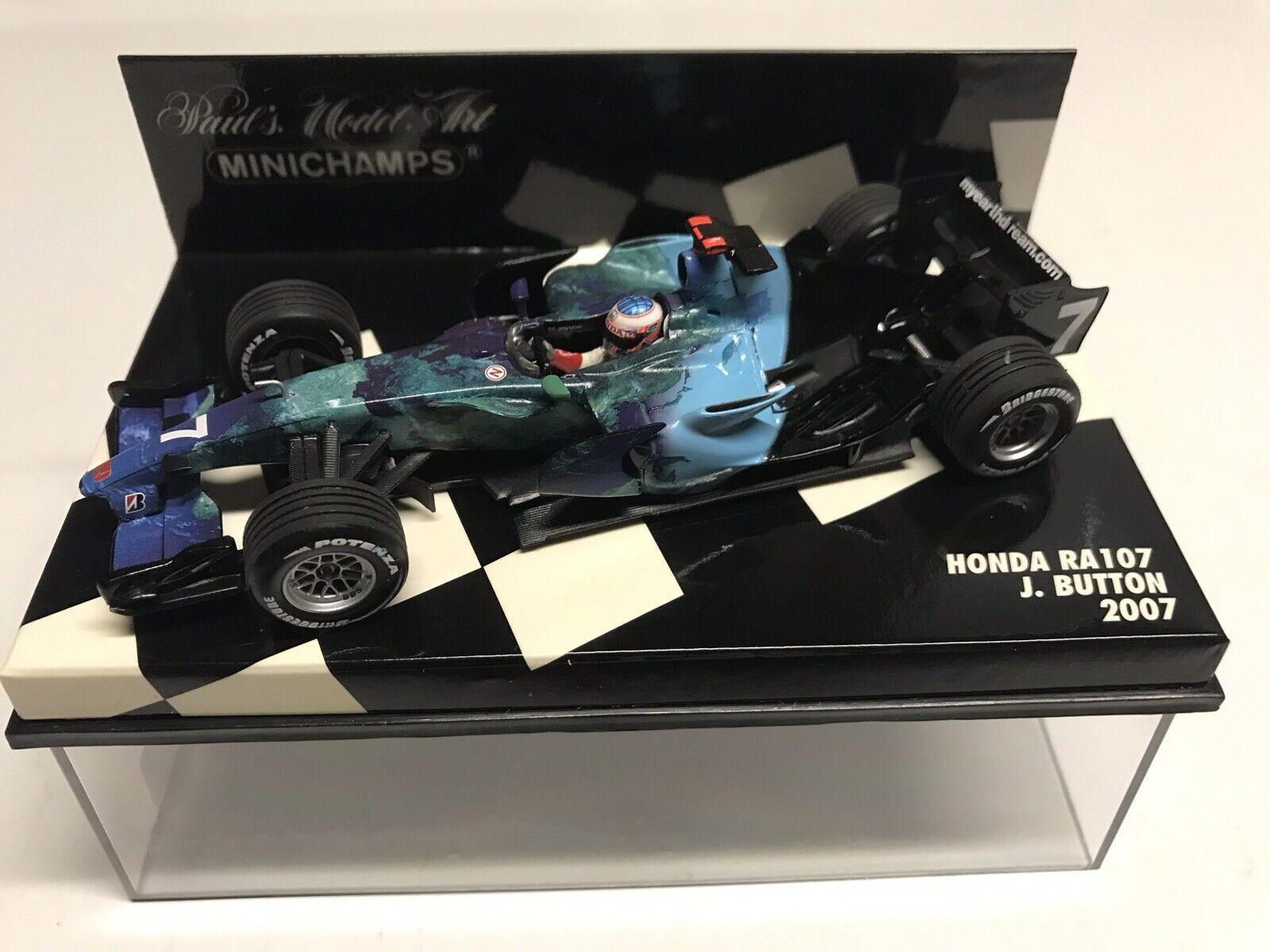 Raro Minichamps Jenson Button 2007 Honda Racing F1 Team RA107  43 Nuevo en Caja
