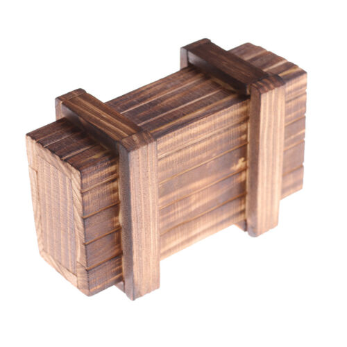 Magic Compartment Wooden Puzzle Box With Secret Drawer Brain Teaser Kids Gift S*