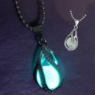 Fashion Charm The Little Mermaid's Teardrop Glow in Dark Pendant Necklace Women