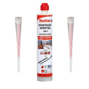 Fischer-1x-Montagemoertel-300-T-2x-Statikmischer-Verbundmoertel-Injektionsmoertel