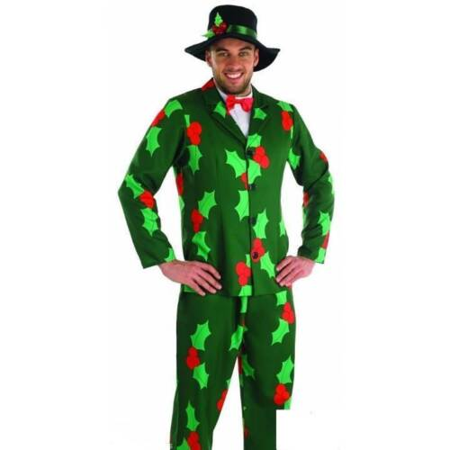 *SALE ** Men/'s Holly Print Suit Father Christmas Day Outfit Adult Fancy Dress