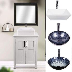 24 Bathroom Vanity Wood Cabinet Glass Vessel Sink Set Faucet Drain Combo White Ebay