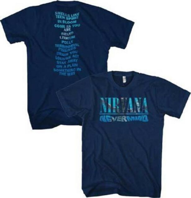 37abca87 Nirvana Nevermind Album Playlist Navy T-Shirt Officially Licensed Adult  Large
