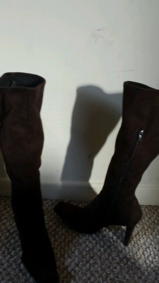 "Nine West ""darkness2"" brown  fabric upper suede like feel 7M Knee high Boots"